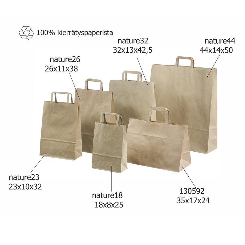 Paperikassi ruskea 100% kierrätettävä materiaali litteäkannikkeinen