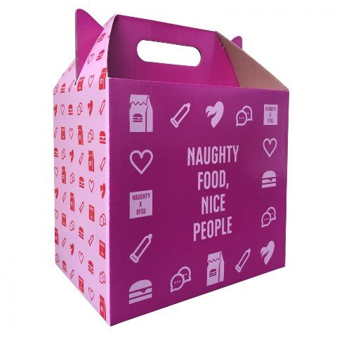 Naughty BRGR RFSU kampanjalaatikko hampurilaislaatikko