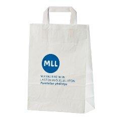 Valkoinen paperikassi sinisellä logolla Mannerheimin Lastensuojeluliitto MLL